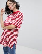 Monki Stripe Oversized Tee - Red