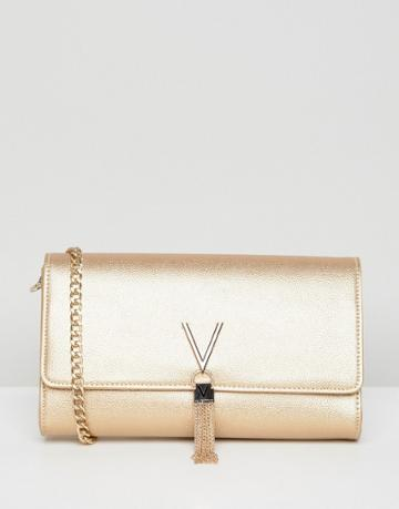 Valentino By Mario Valentino Tassel Detail Clutch Bag With Cross Body Strap - Gold