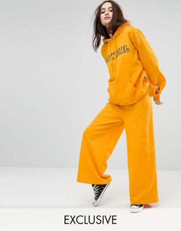 Reclaimed Vintage Inspired Wide Leg Joggers - Yellow