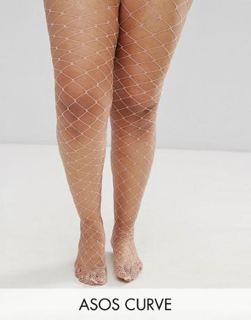 Asos Curve Oversized Fishnet Tights In Pink - Pink
