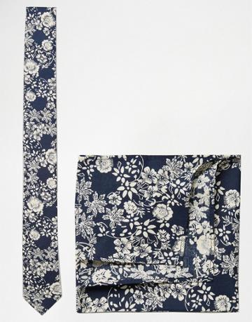 Asos Floral Tie And Pocket Square Set In Navy - Navy