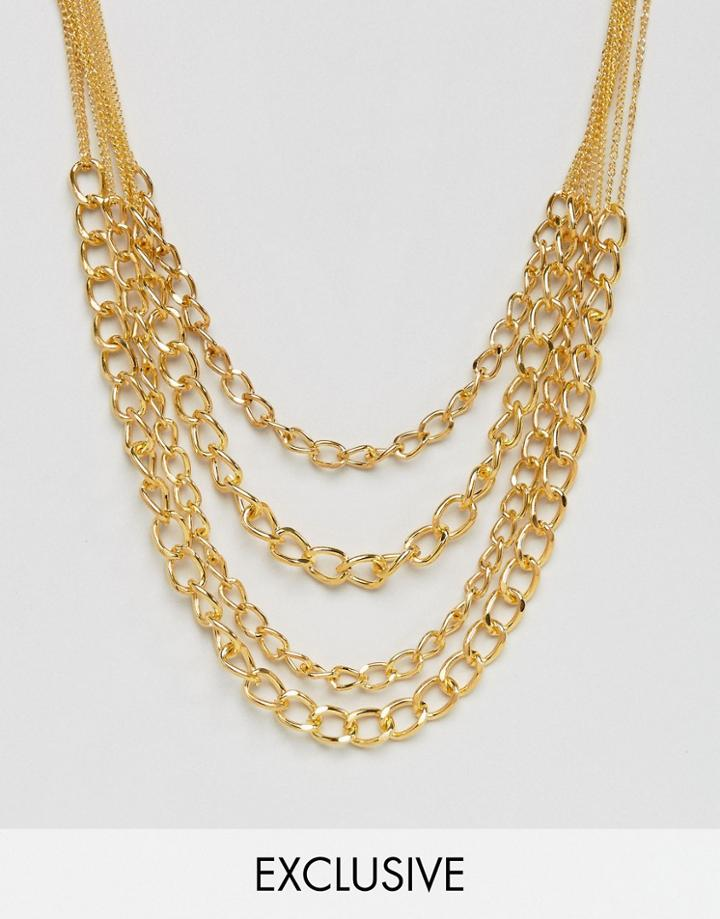 Reclaimed Vintage Inspired Multi Chain Necklace - Gold