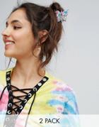 Asos Pack Of 2 Floral Butterfly Hair Claws - Multi