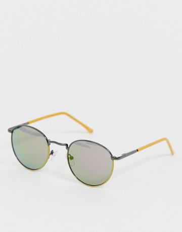 Asos Design Round Sunglasses With Yellow Detail - Yellow