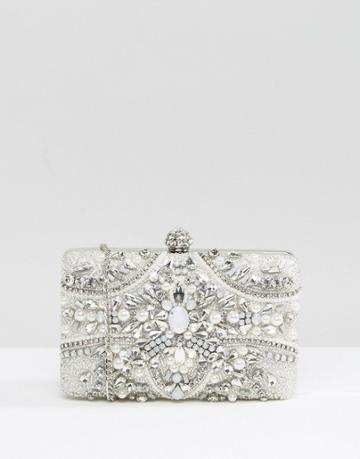 Aldo Embellished Clutch Bag - Silver