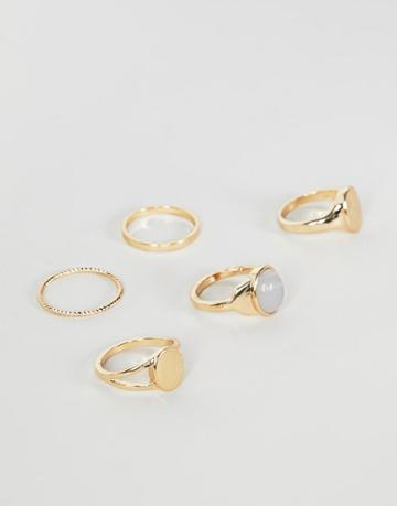 Asos Design Pack Of 5 Rings With Marble Detail And Sovereign Designs In Gold - Gold