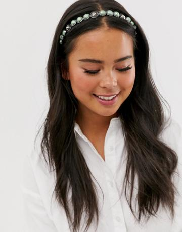 Asos Design Headband In Pastel Green Jewel And Pearl Design - Green