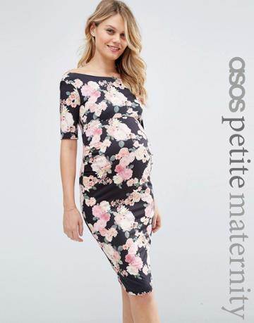 Asos Maternity Petite Bardot Dress With Half Sleeve In Pink Floral Print - Multi