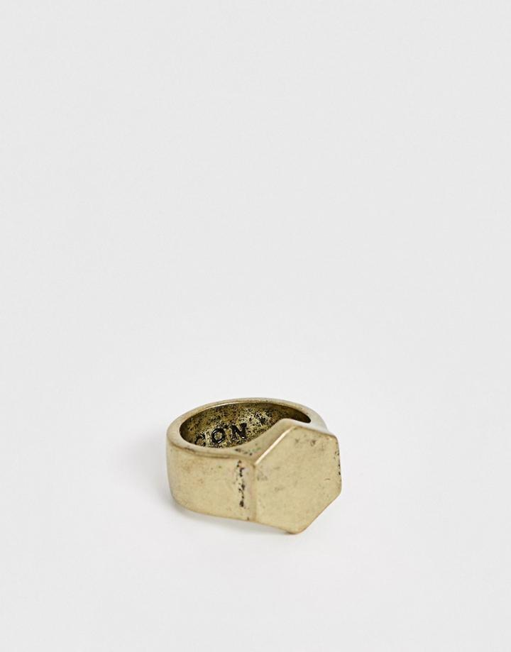 Icon Brand Hexagon Signet Ring In Gold