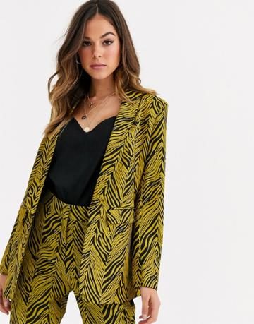 Liquorish Suit Blazer Two-piece In Gold And Black Abstract Print - Multi
