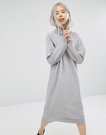 Monki Oversized Sweat Dress - Gray