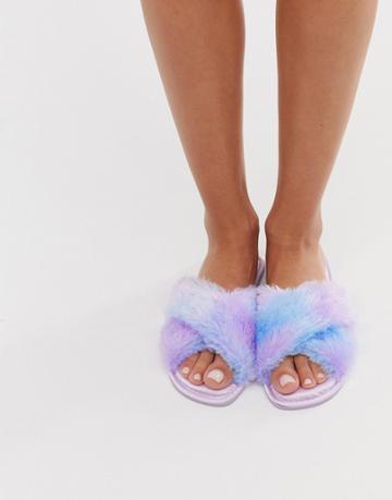 Asos Design Zippy Cross Strap Satin Slippers In Lilac Ombre Fur - Purple