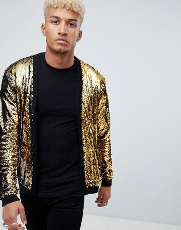 Asos Design Knitted Sequin Cardigan With Gold And Black Sequins