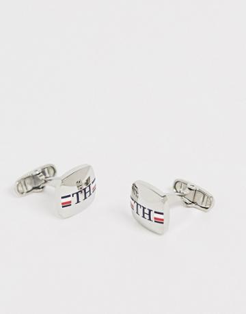Tommy Hilfiger Branded Cufflinks In Silver