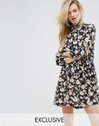 Missguided Floral Print High Neck Dress - Multi