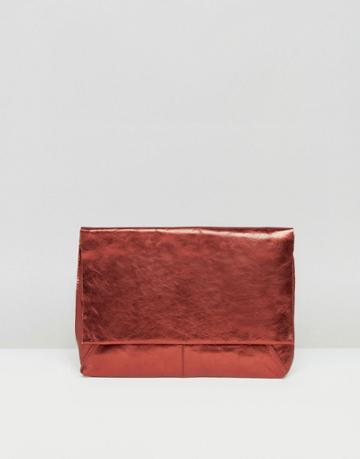 Asos Leather Metallic Flap Over Clutch Bag - Red