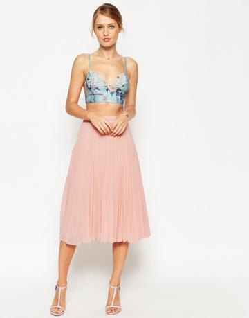Asos Pleated Midi Skirt - Nude