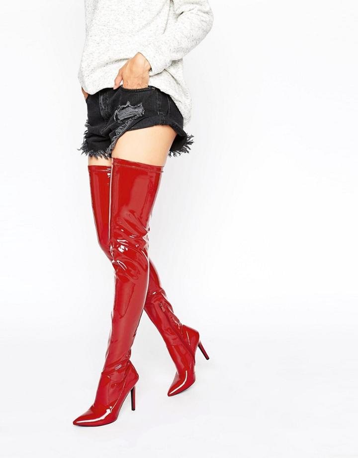 Public Desire Halloween Red Heeled Thigh High Boots - Red