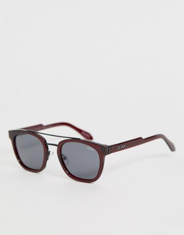 Quay Australia Coolin Round Sunglasses In Red - Red