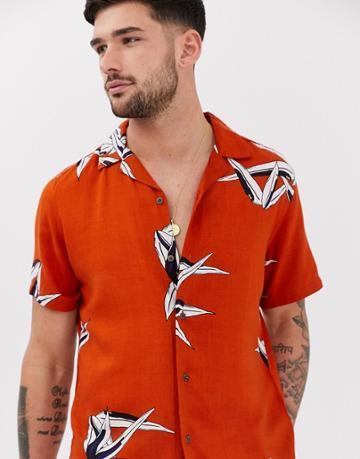 Pull & Bear Shirt With Palm Print In Terracotta - Orange