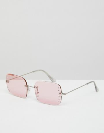 Asos 90s Rimless Square Fashion Sunglasses With Diamonte Embellishment In Pink - Pink