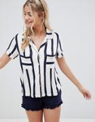 Chelsea Peers Stripe Pyjama Short Set - Navy