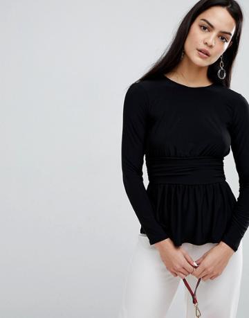 Flounce London Jersey Long Sleeve Top With Waist Detail - Black