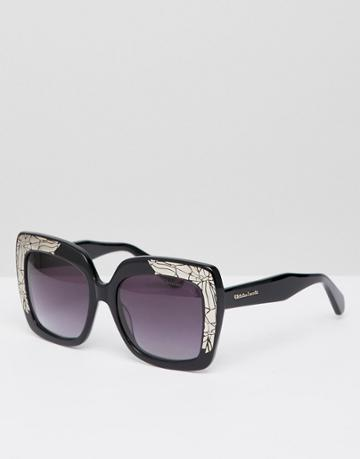 Christian La Croix Oversizes Square Sunglasses In Black - Black