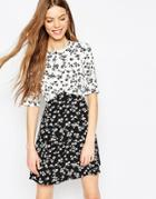 Asos Mono Print Ditsy Skater Dress - Mono Print