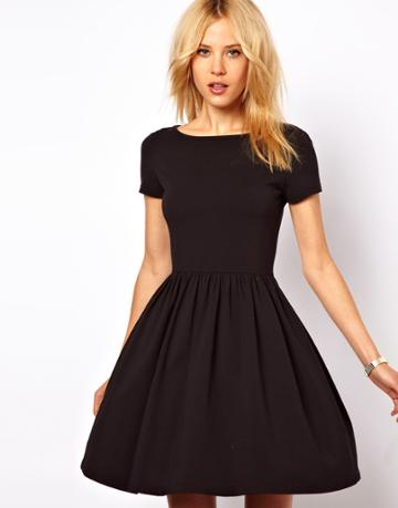 Asos Skater Dress With Slash Neck And Short Sleeves.