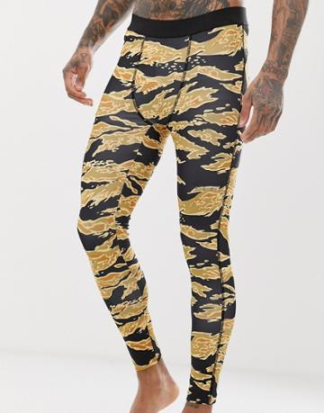 Asos 4505 Running Tights With Camo Print And Quick Dry - Black