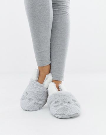 New Look Bunny Mule Slippers - Gray