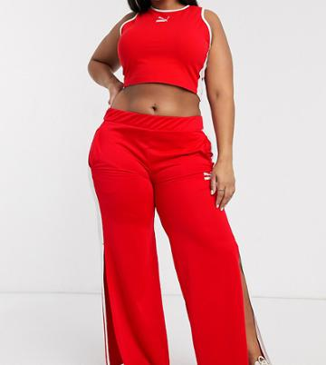 Puma Plus Wide Leg Pants In Red Exclusive To Asos