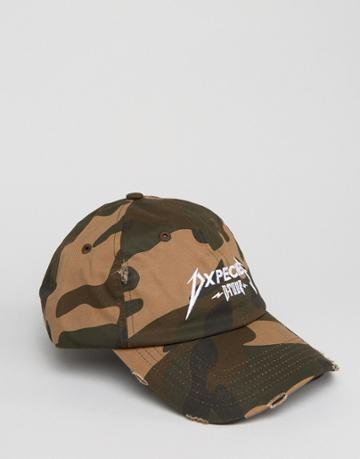 Dxpe Chef Baseball Cap With Distressing In Camo - Brown