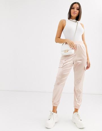 Asos Design Satin Jogger With Pockets-pink