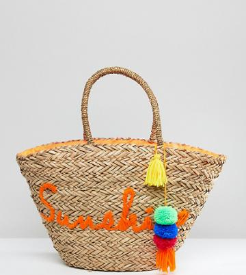 South Beach Sunshine Embroidered Straw Beach Bag - Multi