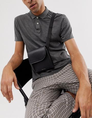 Asos Design Leather Cross Body Flight Bag In Black With Pocket Flap - Black