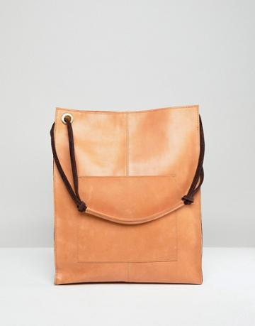 Asos Design Leather Vintage Shopper With Front Pocket - Tan
