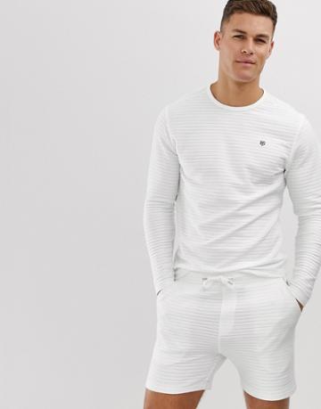 Jack & Jones Premium Ribbed Towelling Crew Neck Sweat In White - White