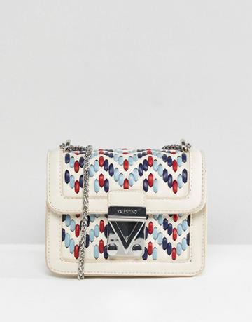 Valentino By Mario Valentino Woven Detail Mini Cross Body Bag - White