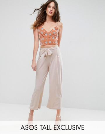 Asos Tall Culotte Pants With Tie - Pink