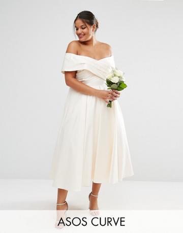 Asos Curve Bridal Bonded Sateen Cross Fold Debutante Dress - White