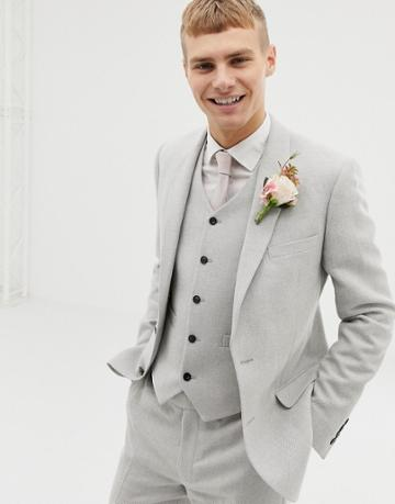 Asos Design Wedding Skinny Suit Jacket In Ice Gray Wool Mix Texture - Gray