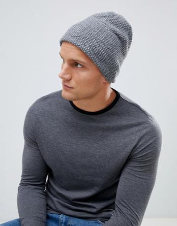 Esprit Slouchy Beanie In Gray Waffle - Gray
