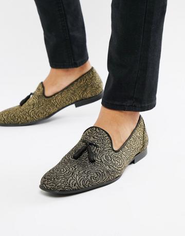 Asos Design Loafers In Black And Gold Rose Design - Gold