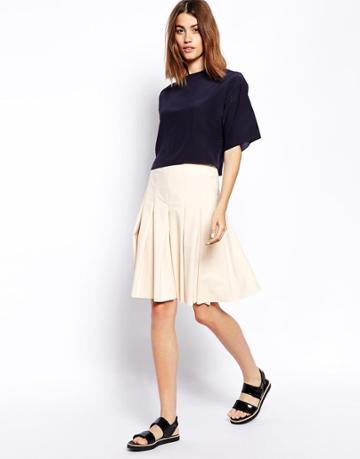 Asos White Pleated Skirt