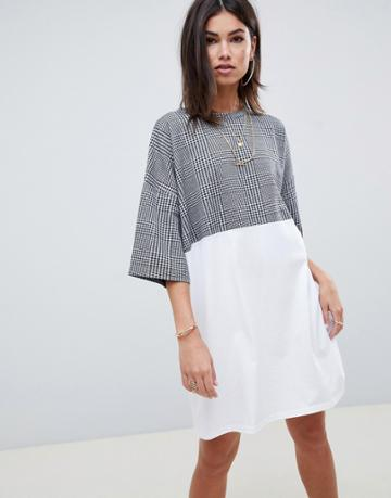 Asos Design Check Mix Fabric T-shirt Dress - Multi