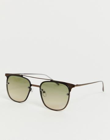 Asos Design Retro Sunglasses With Brown Frame And Laid On Lenses In Grad - Brown