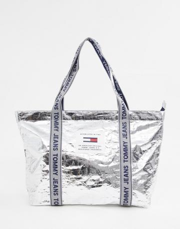 Tommy Jeans Logo Tape Tote Bag - Silver