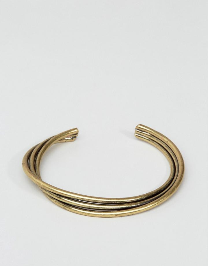 Asos Twisted Bangle In Burnished Gold - Gold